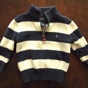 Polo Ralph Lauren 24 m stripe 1/2 zip sweater navy